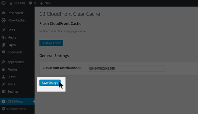 C3 CLOUDFRONT CLEAR CACHE の設定